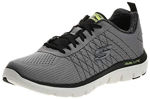 Skechers Flex Advantage 2.0-The Happs, Sneaker Uomo, Grigio (Light Grey/Black), 39.5 EU