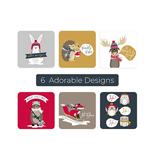 Woodland Animals Christmas Stickers/250 Christmas Tags/Multiple Designs