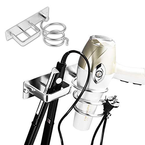Yisscen Soporte para Plancha para Secador de Pelo, Soporte para secador y Plancha de Pelo de Aluminio Soporte para secador de Pelo montado en la Pared Aplicar para Baños Aseos Barbershop, Plata