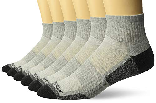 Weatherproof Men's 6 Pack Quarter Crew Socks, Gray/Gray, 10-13