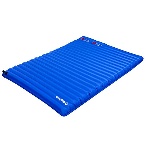KingCamp Light Double Size Outdoor Camping Air Mattress Mat Pad Bed with Built-in Foot Pump, Blue, Double
