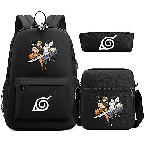 Love Anime Naruto Mochila Escolar, Computadora Portátil Mochila Escolar, Estuche De Lápices De Dibujos Animados, Mochila Escolar De Dibujos Animados, Juego De 3 Piezas Para Niños Y Estudiantes