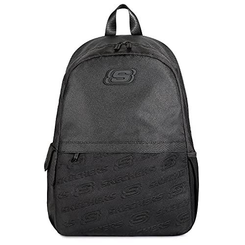 Skechers Rucksack Schulrucksack, Leichter Lässiger Tagesrucksack Backpack mit Laptopfach für Herren Damen Teenager, Perfekt für Schulreisen Arbeit Camping Outdoors , 44cm, Schwarz…