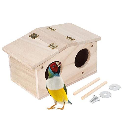 Casetta per uccelli, durevole in legno per animali domestici nidi per uccelli casa allevamento box gabbia accessori per uccelli con porta a due fori per pappagalli rondini uccelli e altri animali