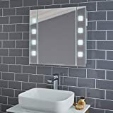 Armario de baño con espejo iluminado con luz LED gris guijarro – Armario de almacenamiento de espejo montado en la pared con luces, aluminio, Gris, Pyrus