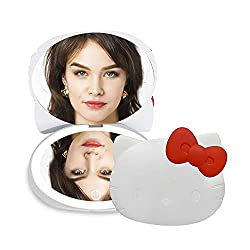 Impressions Hello Kitty Kawaii Compact Mirror with Touch Sensor Switch, LED Makeup Mirror with Battery, White