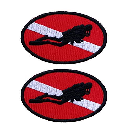 Toygogo 2X Buceo Bandera De Buceo Hierro En Parches/Parches De Apliques Bordados para Manualidades Artesanía Decoración De Bricolaje, Jeans, Chaquetas, Ropa