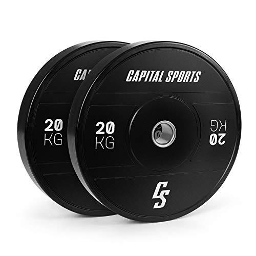 CapitalSports Elongate 2020 - Discos de Peso para Pesas, Material de Caucho endurecido, Resistente a los Golpes, Abertura de 50,4 mm con Anillo Interior de Acero, 2 Discos x 5 kg, Negro ✅