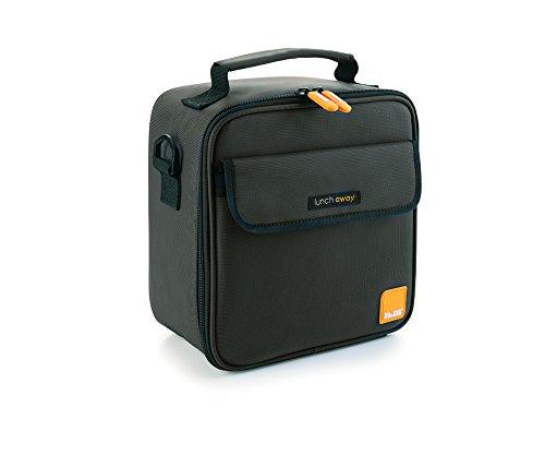 Ibili 753455 Away - Fiambrera (poliéster, silicona y plástico), color negro, 22 x 22 x 12 cm