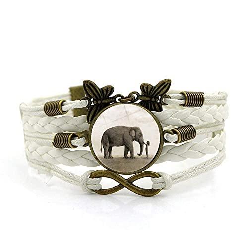 Pulsera tejida, cuerda blanca Lindo Elefante Animal niña, Tiempo Pulsera de piedras preciosas Multi-capa Mano tejida de vidrio Joyería de la joyería de las señoras de la moda de la joyería de estilo e