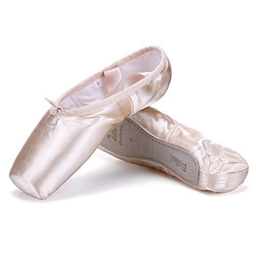 WENDYWU Professionelle Ballettschuhe Tanzschuhe Rosa Ballett Spitzenschuhe mit Zehenpolster Schutz für Mädchen Damen, Pink - rose - Größe: 34 EU