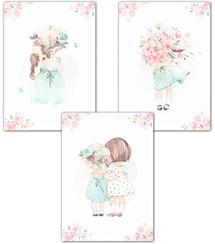 Lemmami Papeterie 3er Set Wandbilder Kinderzimmer Babyzimmer Poster Bilder DIN A4 Mädchen Jungen Deko Dekoration Süße Mädchen mit Regenschirm und Hund (3er Bilder Set Rosa, Pastell, Wanddeko)