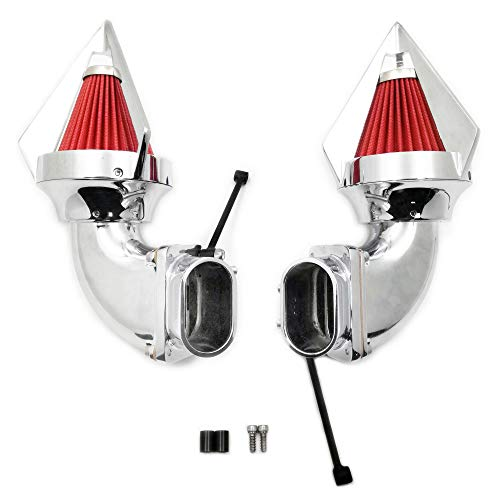 AfterMokit Dual Triangle Spike Air Cleaner Intake with Red Filter for Suzuki Boulevard M109R VZR1800 Intruder M1800R Chrome