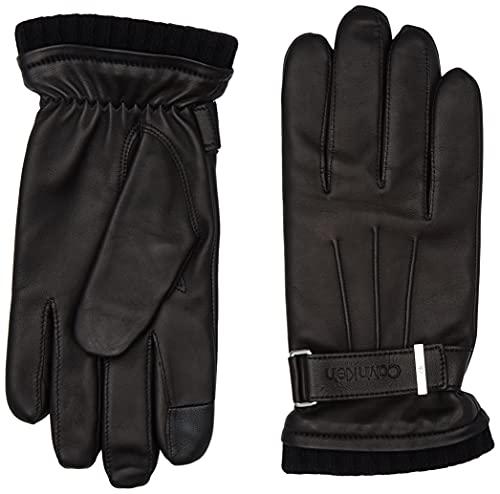 Calvin Klein Leather Rivet Gloves Gants en Cuir, CK Black, L-XL Homme