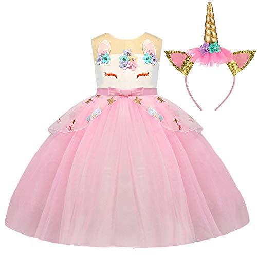 TTYAOVO Mädchen Einhorn Phantasie Prinzessin Kleid Kinder Blume Pageant Party Kleid Ärmellose Rüschen Kleider,Regenbogen-rosa,4-5 Jahre (Etikette 120)