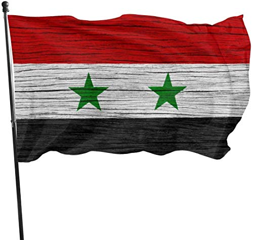 jhin Dekorative Fahnen Syria Wooden Texture Syrian Flag Themed Welcome Party Outdoor Outside Decorations Ornament Picks Home Garden Decor 3 X 5 Ft
