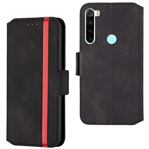 ARRYNN Handyhülle für Xiaomi Redmi Note 8 Hülle,Lederhülle Xiaomi Redmi Note 8 Flip Cover,Premium Schutzhülle Magnet Ledertasche für Xiaomi Redmi Note 8 (R-Schwarz)