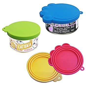 FineGood 4 Pack Silicone Animaux Peuvent Covers avec Une cuillère, qualité Alimentaire pour Animaux Can Stockage Couvercle Universel Can Cover Nourriture pour Chien Chat PE