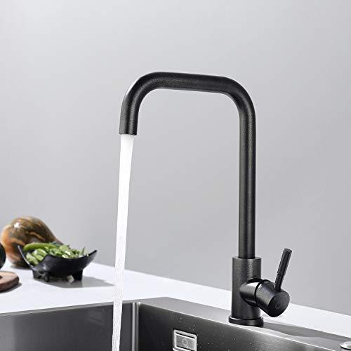 CECIPA Wasserhahn Küche Schwarz mit Glitzer 360° Drehbar Küchenarmatur aus Edelstahl Geeignet für Spülbecken Mischbatterie Armatur Küche, Anti-Fingerabdruck-Spültischarmatur