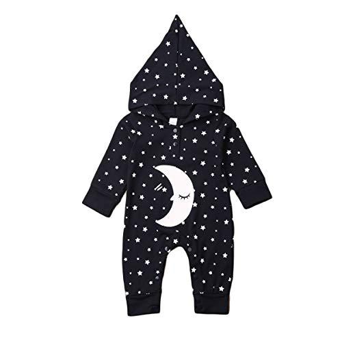 puseky frère et Soeur Combinaison de vêtements de Nuit étoile de Lune Impression Sweat à Capuche Combinaison Barboteuse pour bébé garçon