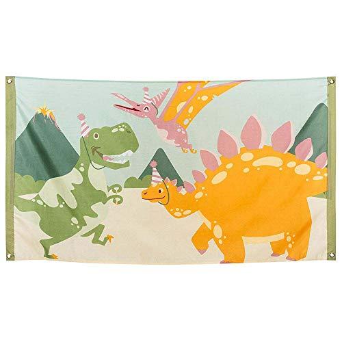 Boland 50052 - Fahne Dino, Größe 90 x 150 cm, Polyester, Dinosaurier, Banner, Wanddekoration, Hängedekoration, Kindergeburtstag, Mottoparty