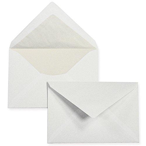 PREMIUM Briefumschläge C6 weiss, gefüttert (50 Stück) weiß mit Innenfutter/Seidenfutter