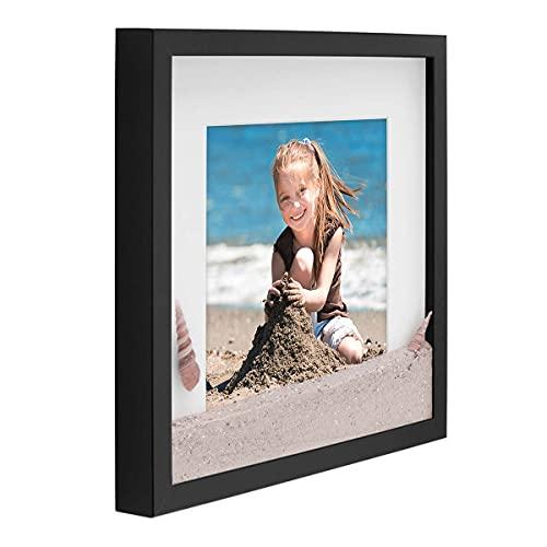 PHOTOLINI 3D-Bilderrahmen tief Objektrahmen 30x30 cm Schwarz zum Befüllen für Gegenstände mit Passepartout Modern