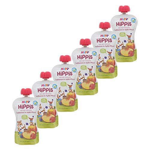 HiPP HiPPiS Quetschbeutel, Waldbeeren in Apfel-Pfirsich, 100% Bio-Früchte ohne Zuckerzusatz, 6 x 100 g Beutel