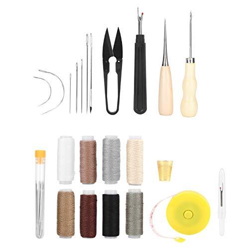 Kit de herramientas de costura de cuero con tijeras, agujas de coser, juego de hilos de dedal perforado para reparación de artesanías de cuero, 31 piezas