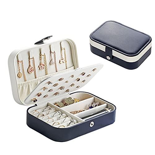 OMYLFQ Caja de los Anillos de Viaje portátiles de la Caja de Almacenamiento a Prueba de Polvo Suave PU Caja de Organizador de joyería de Cuero para Pulseras, Collares, Anillos, Pendientes