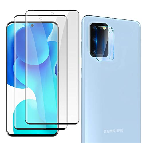 """[2+1] Galaxy S20 Plus 5G (6.7"""") Tempered Glass Screen Protector + Camera Lens Protector [9H ][Fingerprint Support][Case Friendly] [Anti-scratch] [Bubble Free][ HD] for Samsung Galaxy S20 Plus"""