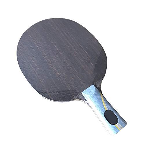 Y-H - Raqueta de tenis de mesa especialmente hecha de ébano amarillo negro fragante de carbono incorporado grado profesional de un solo paquete de tiro recto