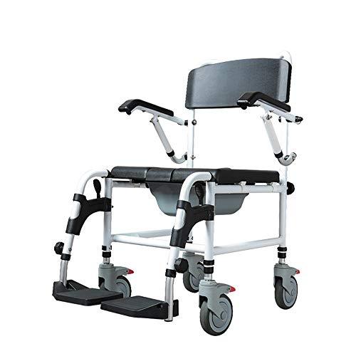 Tragbarer Toilettenstuhl, Faltbarer Duschstuhl mit Rollen, höhenverstellbar, medizinische Versorgung, schwere Belastung von 800 Pfund, Aufwärtsbewegung des Handlaufs, Pedal/Rückenlehne/Lauf