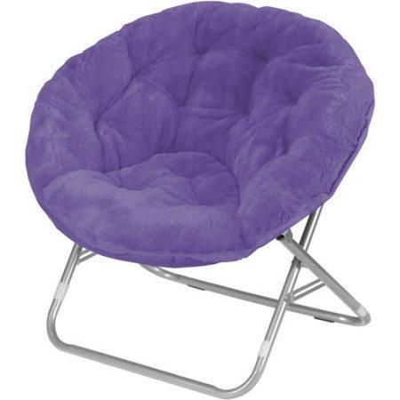 Mainstay Faux-Fur Saucer Chair, Multiple Colors (Purple)