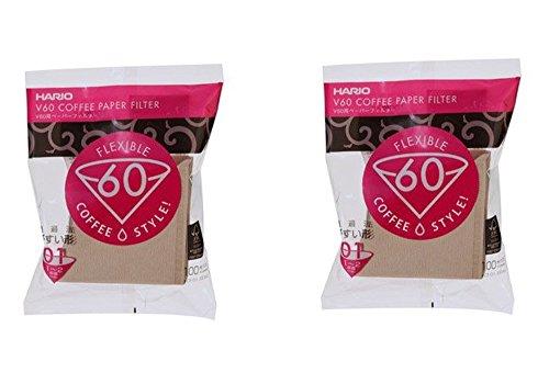 Hario 01 Coffee Natural Paper Filters, 2-Pack Set 100 Filters per Pack (Total of 200 Filters) (Japan Import)