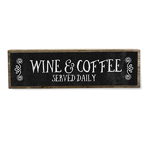 ANVEVO Wine and Coffee Served Daily - Handmade Metal Wood Wine Sign – Cute Rustic Wall Decor Art - Farmhouse Decorations – Wine Décor for Kitchen