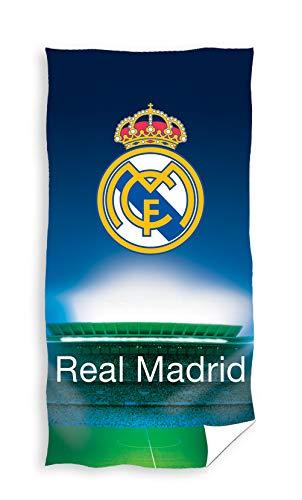 TEXTIL TARRAGO Toalla de Playa Real Madrid 70x140 cm Microfibra, Licencia Oficial