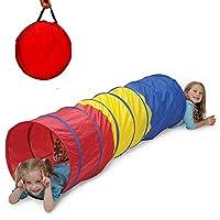 子供のトンネル、ゲームパイプライン、テント、6 'トリコロール通路、折りたたみ式190Tポリエステル布収納バッグ付き0-2子供用屋外レクリエーション機器