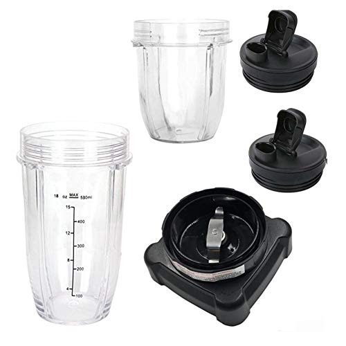 Juicer Accessories Set, 12oz Cup With 18oz Cup And Two Lids and Blade Replacement Compatible for Nutri Ninja Blender 6 Fins BL610(5PC/set)