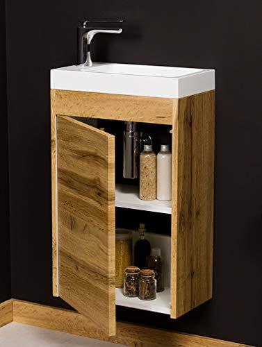 Quentis Badmöbel Gäste-WC Set Guest, Breite 40 cm, Waschbecken mit Unterschrank, Eiche Natur, Waschbeckenunterschrank montiert