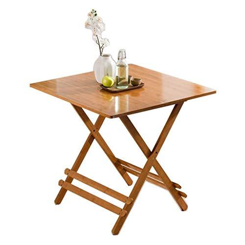 Klaptafel voor de tuin, eettafel, draagbaar, massief hout, bamboe, klein, vierkant, modern, minimalistisch