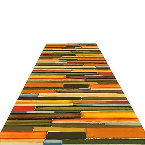 Tappeto Passatoia Corridoio Tappeto per Moquette Color Olio/Arcobaleno - per La Mostra di Pittura/Galleria/Camera da Letto per Bambini/Salotto, Decorazione e Antiscivolo, Peluche Corto