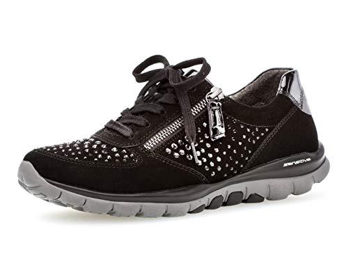 Gabor Damen Low-Top Sneaker 36.968, Frauen Sport-Halbschuh,Halbschuh,Schnürschuh,Strassenschuh,Business,Freizeit,schwarz (Strass),38.5 EU / 5.5 UK