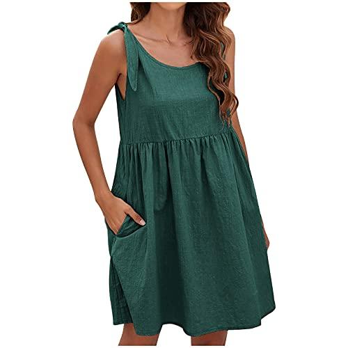 Komiseup Sommerkleid Damen Einfarbig...