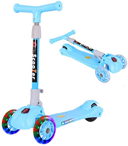 3 Wheels Light-Up Kick Scooters for Kids Folding Sports Kick Scooter for Girls Boys with Kickstand 3 Adjustable Height PU LED Light Up Wheels for Children 4 Years and up