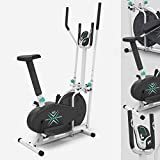 We R Sports Deluxe 2-IN-1 Cross Trainer & Exercise Bike Fitness Cardio Workout With Seat (White)