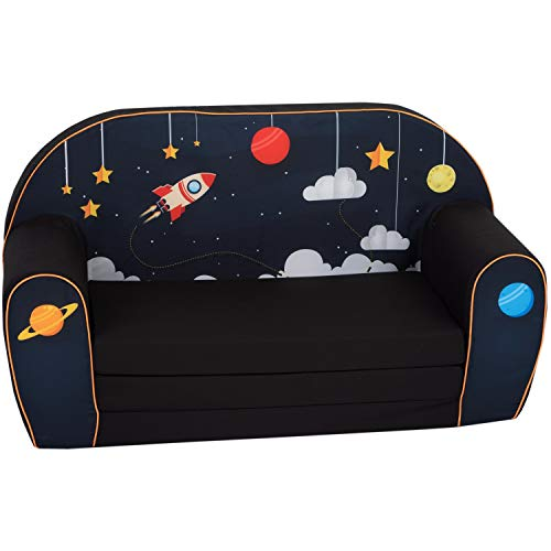 DELSIT Toddler Couch & Kids Sofa - European Made Children's 2 in 1 Flip Open Foam Double Sofa - Kids Folding Sofa, Kids Couch - Comfy fold Out Lounge (Cosmos)