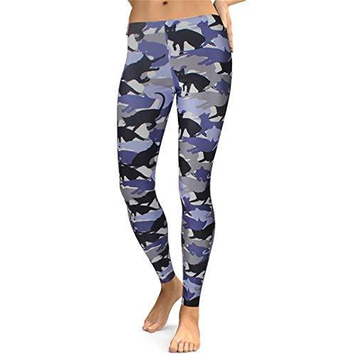Gato Polainas Mujeres Animal Legging de impresión Digital de Fitness Leggins Cintura Delgada más los Pantalones del tamaño del Entrenamiento Legins KDK1745 S