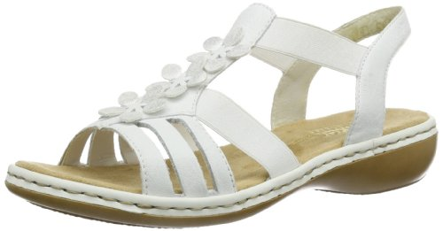 Rieker Damen 65999 Offene Sandalen mit Keilabsatz, Weiß (Weiss/Ice / 80), 39 EU