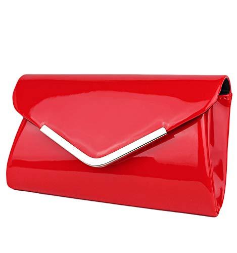 Schompi Bolso Tipo Clutch Para Mujer, Con Cadena De Hombro Desmontable, Charol, Color:Rojo